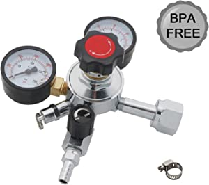 CO2 Kegerator Regulator,Beer Keg Regulator,Dual Gauge CO2 Draft Beer Regulator,0-60 PSI Working Pressure,0-3000 PSI Tank Pressure,Beer Regulator with Safety Pressure Relief Valve