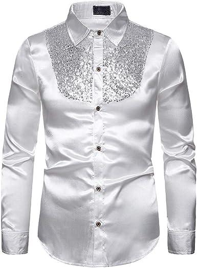 Camisa de Raso de Seda con Lentejuelas para Hombre Camiseta de Vestir de Manga Larga Slim Fit S-2XL: Amazon.es: Ropa y accesorios