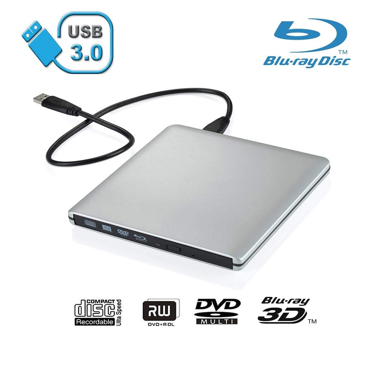 Xglysmyc USB 3.0 External Blu-ray CD DVD Drive,Portable Ultra-Thin 3D Blu-ray Player DVD+/-RW Burner Writer Reader for Laptop Notebook PC Desktops Support Windows XP/Vista/7/8/10, Mac OSX -Silver by Xglysmyc