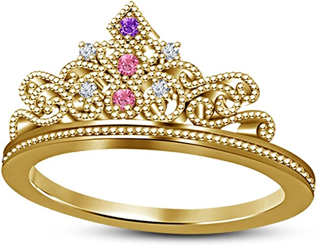 SVC-JEWELS Lovely Round Cut White CZ Diamond 14K Two-Tone Gold Plated Rose Tiara Princess Ring