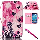 Electronics : Galaxy S4 Case, Galaxy S4 Wallet Case, Firefish [Kickstand] PU Leather Flip Purse Case Slim Bumper Cover with Lanyard Magnetic Skin for Samsung Galaxy S4 i9500 + including One Stylus-Dandelion
