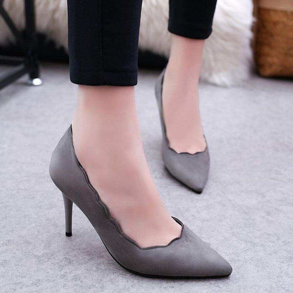 GAOLIXIA GAOLIXIA GAOLIXIA Señoras de Las Mujeres Acentuados Tacones Altos PU Four Seasons Stilettos Zapatos de Trabajo de Encaje Negro Gris Verde (Color : Gris, tamaño : 39) 90f0d1