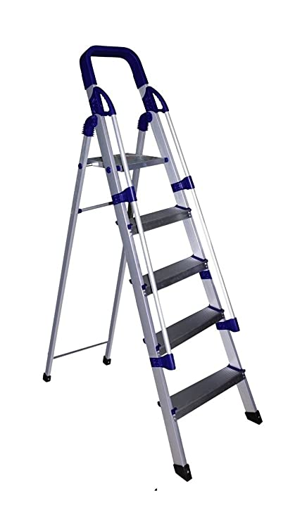 Parasnath Prime Railing Home Pro Step Ladder Light Weight Full Aluminium Heavy Duty Folding Ladder 50 Years Warranty Made in India