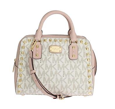 7ecd4fb29abb Amazon.com  MICHAEL Michael Kors Sandrine Stud Small Satchel Bag - Vanilla  Ballet  Shoes