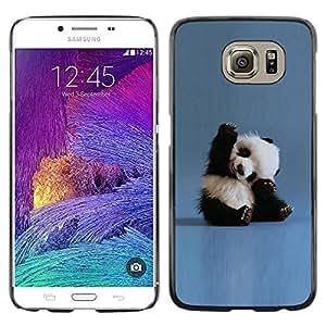 FECELL CITY // Duro Aluminio Pegatina PC Caso decorativo Funda Carcasa de Protección para Samsung Galaxy S6 SM-G920 // Tiny Baby Panda Quote Blue China Animal