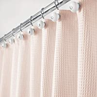 mDesign Hotel Quality Polyester/Cotton Blend Machine Washable Fabric Shower Curtain with Waffle Weave and Rust-Resistant…