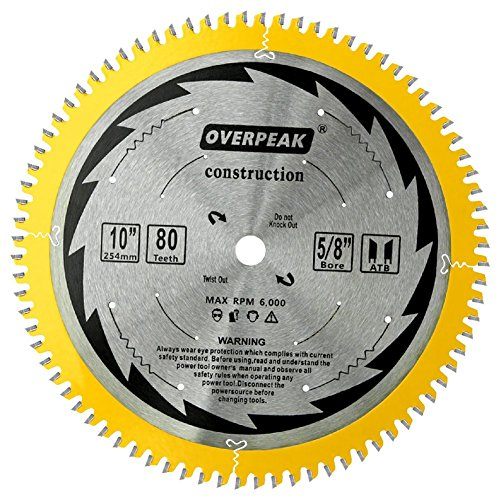 OVERPEAK 10-Inch 80 Tooth ATB Circular Saw Blade Fine Finishing with 5/8-Inch Arbor for Aluminum and Non Ferrous Metals ()