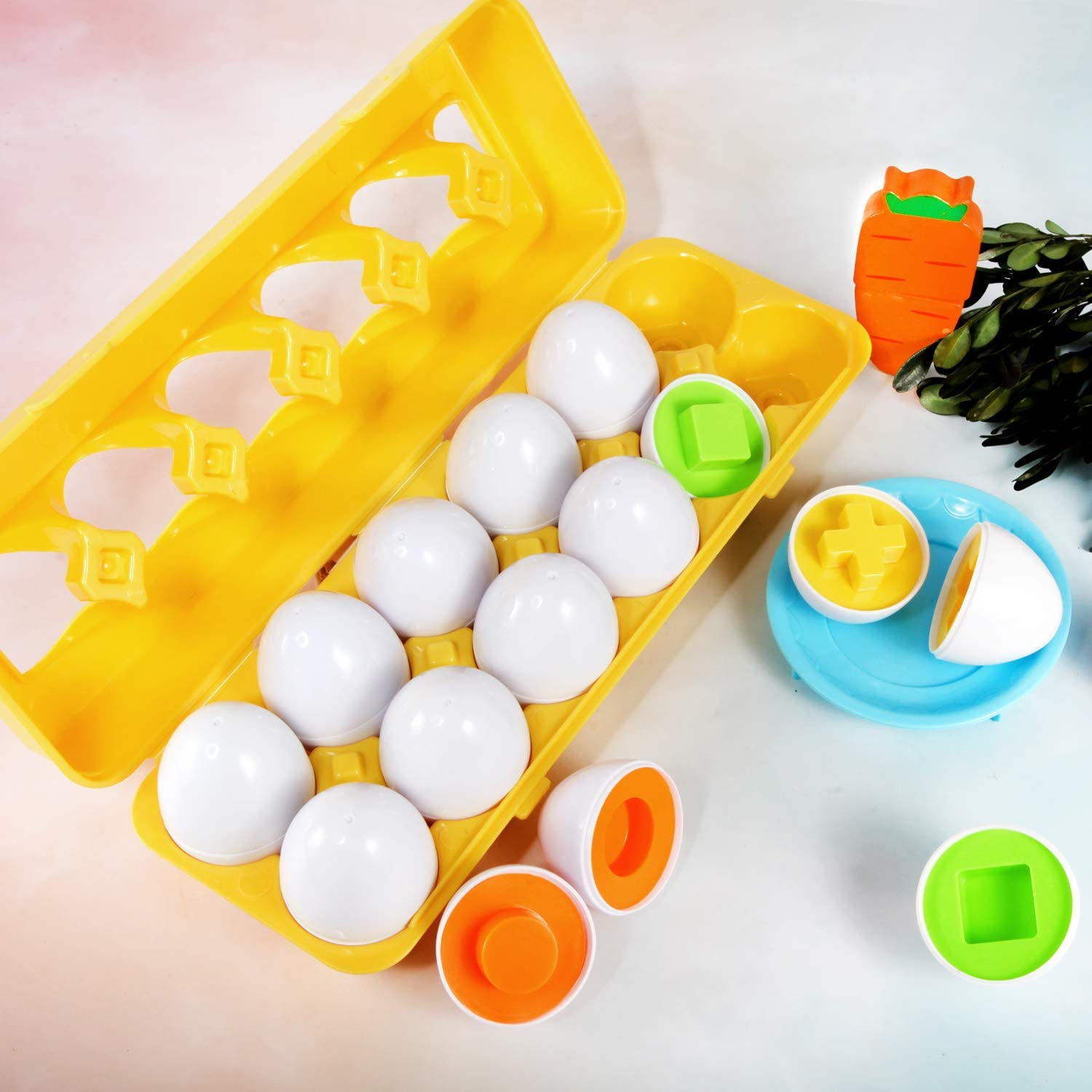 Easter Match Eggs Shape TomatoFish Color Shape Matching Egg Set Sorting Puzzle for Toddlers Boys Girls Preschool STEM Toys Educational Color /& Shape//Number Recognition Skills Learning Toys