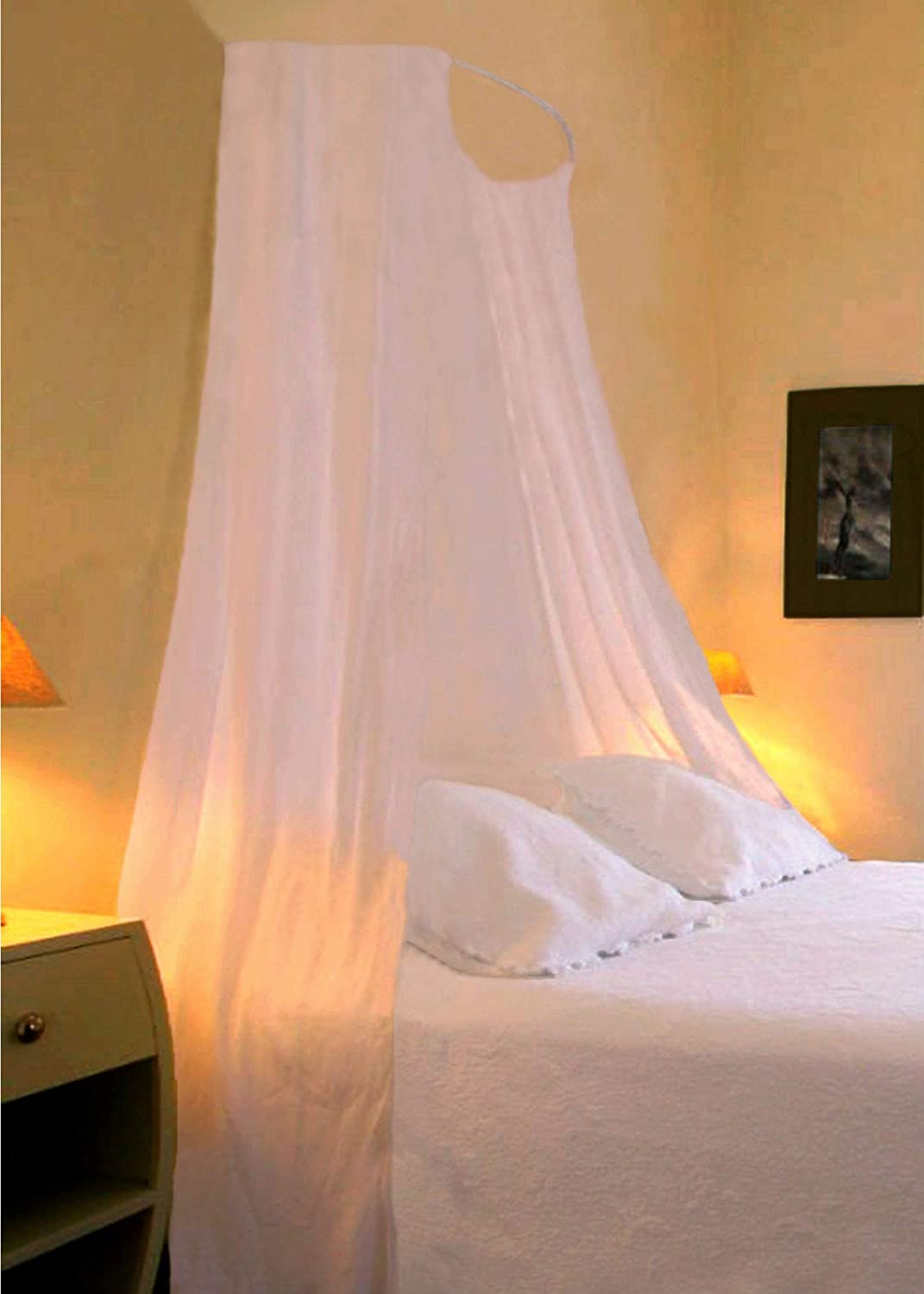 CREAM BED CANOPY SET Soft Sheer Pale Cream VOILE & Rod Fixing Kit COMPLETE EASY FIX Showpiece Curtains and Voiles