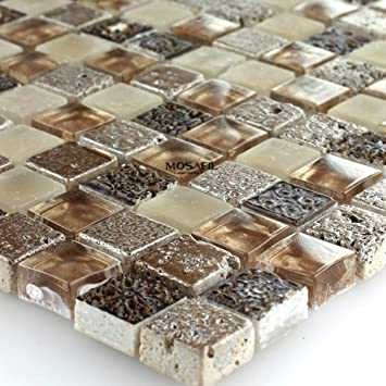 Glas Marmor Mosaik Fliesen Braun Beige Glasmosaik Marmorglas