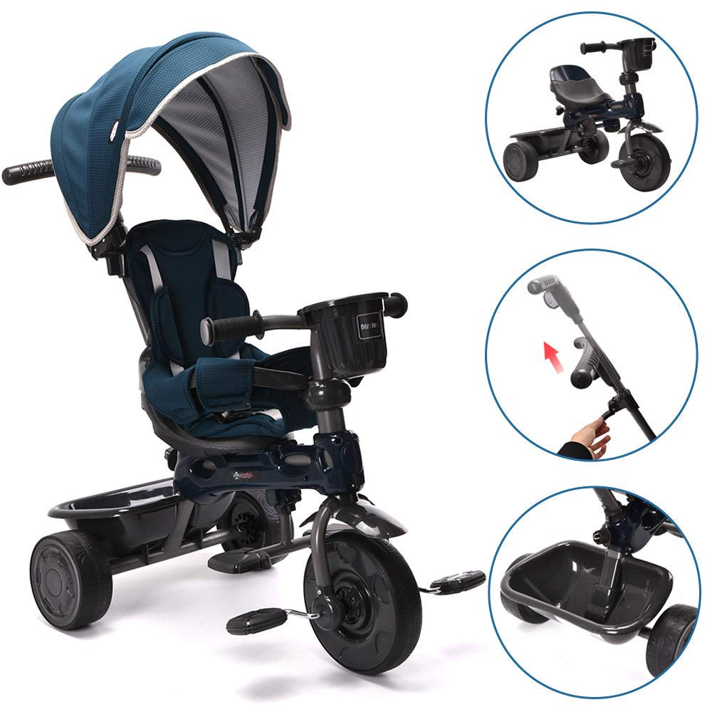 ChromeWheels 4-in-1 Kids' Trike & Stroller, Adjustable Height Push Ride Tricycle for 9 Months - 5 Year Old, Blue by ChromeWheels (Image #1)