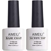 AIMEILI Soak Off UV Gel Polish Base Coat and No Wipe Top Coat Set Upgraded Formula Long Lasting Mirror Finish Gel Polish 2x10ml