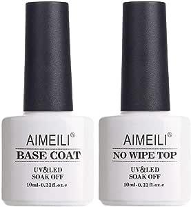 AIMEILI Soak Off UV Gel Polish Base Coat and No Wipe Top Coat Set Upgraded Formula Long Lasting Mirror Finish Gel Polish 2x10ml