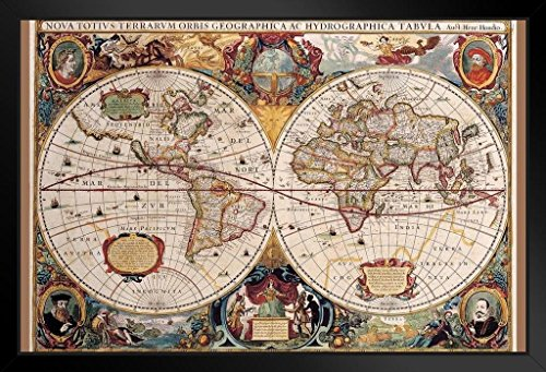 World Map 17th Century Antique Vintage Art Print Framed Poster 14x20 inch
