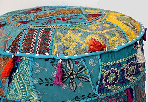 khushvin Vintage Sari Patchwork Ottoman Bohemian Indian Patchwork Ottoman Traditional Handmade Pouf Indian Patchwork Foot stool Ottoman 22x14 by khushvin (Image #1)