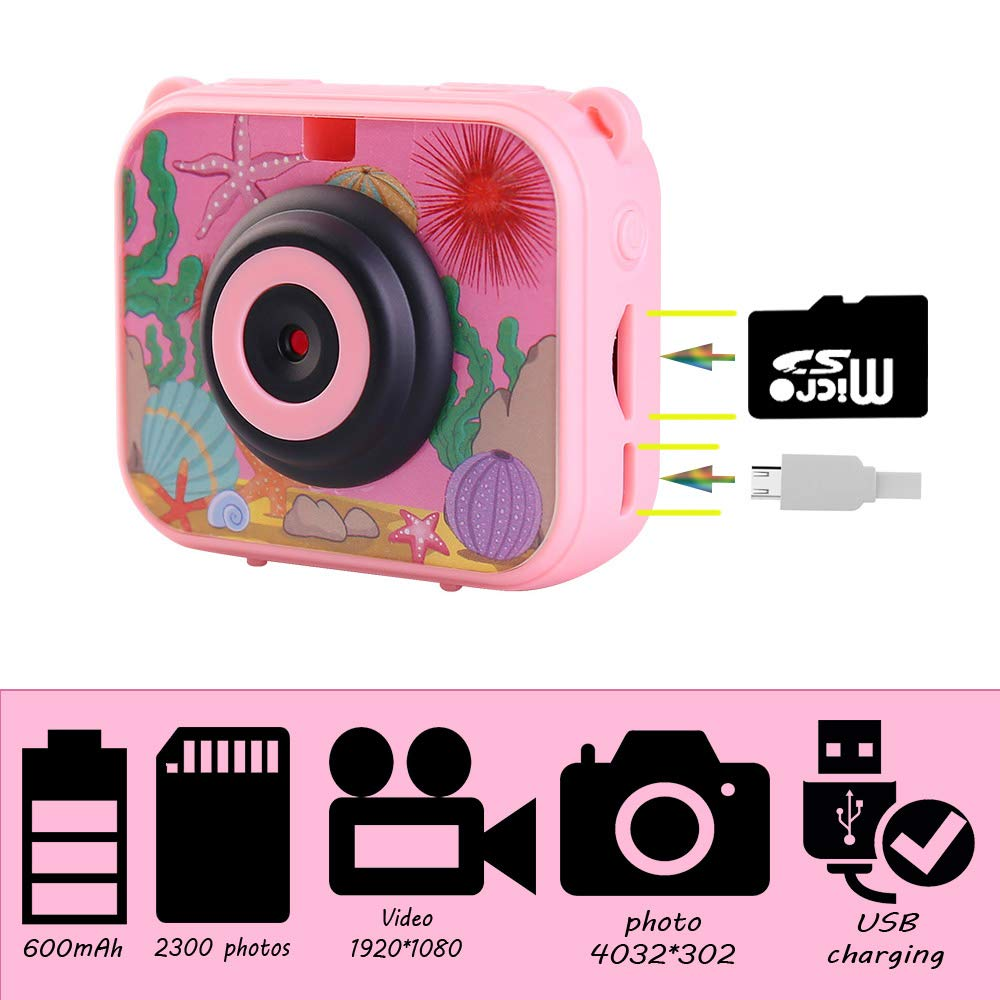 denicer Waterproof Children's Camera with 2.0 Inch LCD Display 12MP HD Kids Underwater Camera Camcorder with 32G SD Card for 4-12 Girls Festive/Birthday Gift-Pink by denicer (Image #3)
