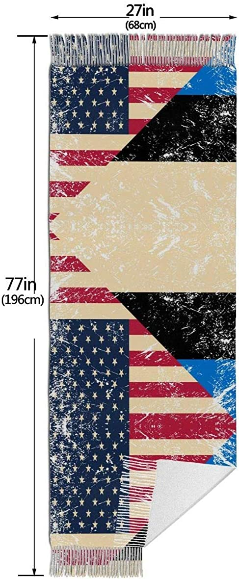 American and Estonia Retro Flag Cashmere Scarf Shawl Wraps Super Soft Warm Tassel Scarves For Women Office Worker Travel