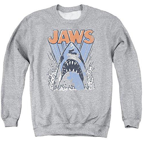 1970s Mens Sweater (JAWS 1970s Thriller Movie Vintage Shark Teeth Splash Logo Adult Crew Sweatshirt)