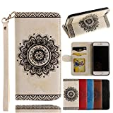 Prime Clearance Sale & Deals Day 2017-For iPhone 7 Wallet Case,Valentoria Mandragora Flower Premium Vintage Emboss Leather Wallet Pouch Case with Wrist Strap for iPhone 7 4.7inch(White)
