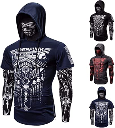 Yunbai Sweat Vest for Men Elastic Fitness Men's Outdoor Fake Two-Piece Cyberpunk Ninja Suit Hooded Mask Riding T-Shirt Slim Jogger Bodybuilding Long Sleeve Personality Coat