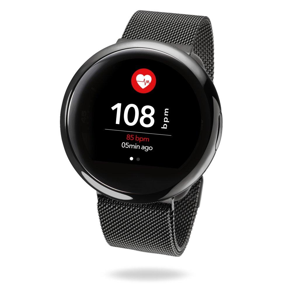 MyKronoz ZeRound2 HR Elite Smartwatch with Heart Rate Monitoring - Black/Milanese Black Band