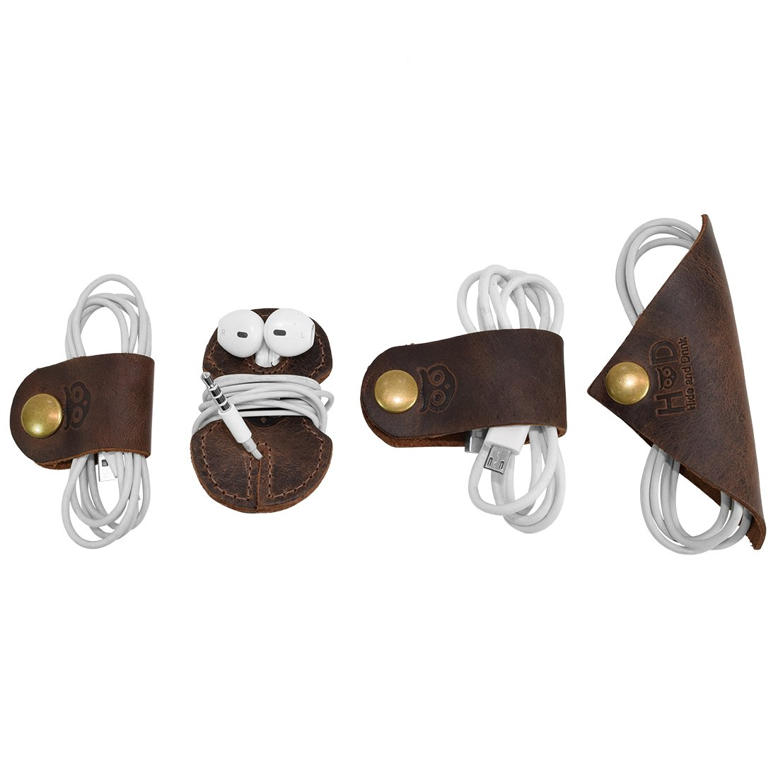 Rustic Cord Keeper (Cord Clam) 4-Pack Handmade by Hide & Drink :: Bourbon Brown