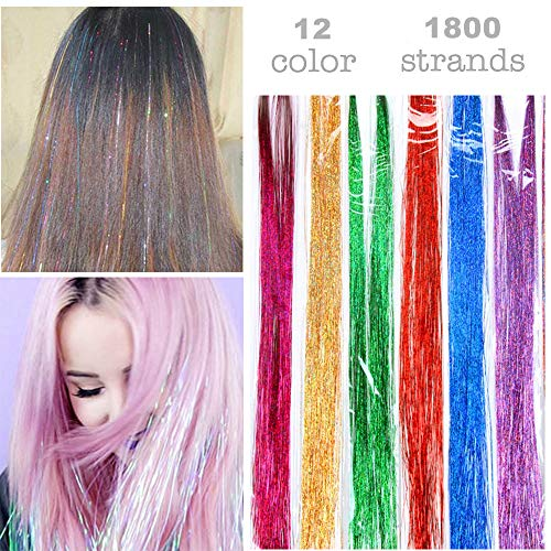 Caykay 100cm Hair Tinsel 12 Colors 1800 Strands