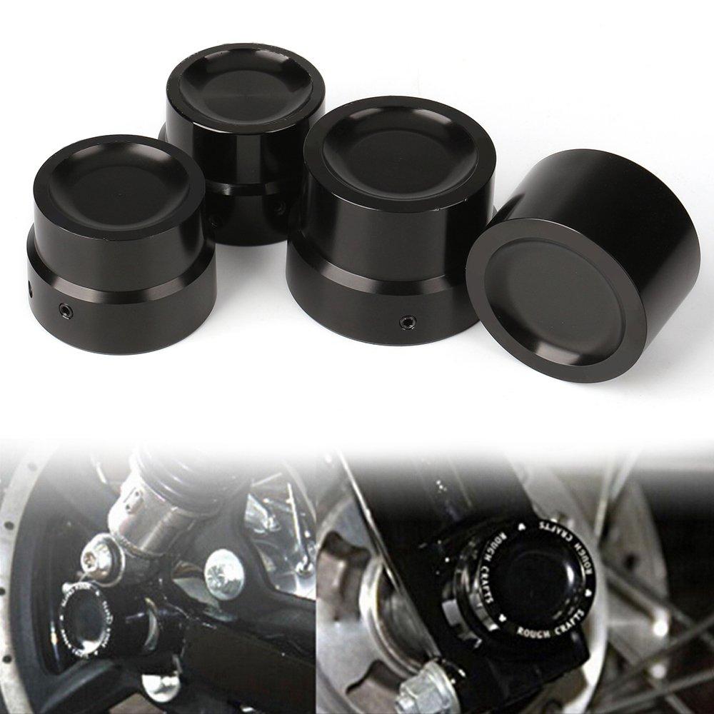 CNC Black Front Rear Axle Nut Cover Axle Caps Bolu For Harley 883 1200 XL Dyna Fatboy Street Bob Super Glide V-Rod Softai(Pack 4)
