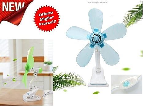 Mini ventilador de 5 aspas con pinza de doble articulación para ...
