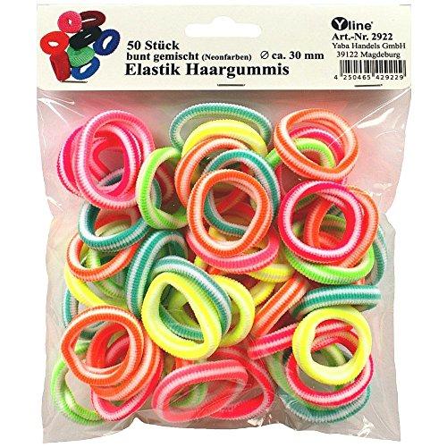 50 Elastik Haargummis bunt Neonfarben, D.ca. 3 cm / B.ca.0,6 cm, Kinder Haar - Gummi Zopfgummi, Trend - Haarschmuck, 2922