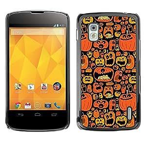 Caucho caso de Shell duro de la cubierta de accesorios de protección BY RAYDREAMMM - LG Google Nexus 4 E960 - Orange Pumpkin Black Holiday