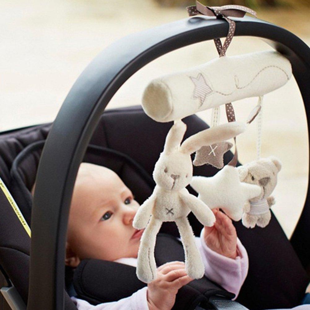 Gemini_mall® Baby Cute Music Plush Activity Crib Stroller Soft Toys Hanging Rabbit Star Shape (Beige)