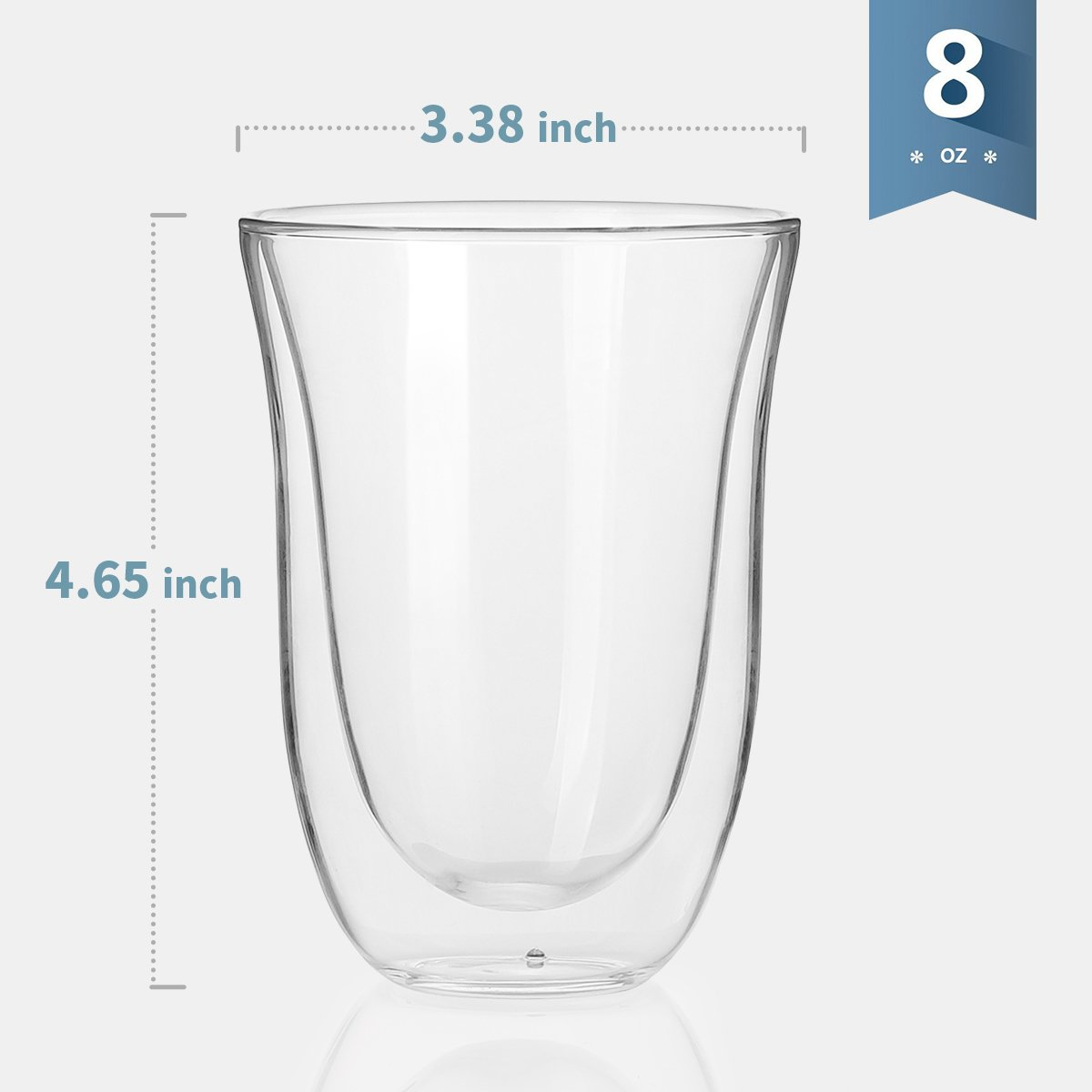 Sweese 4606 Glass Coffee Mugs - 8 Ounces, Double Wall Insulated Borosilicate Glasses , Espresso Cups Suitable for Cappuccino, Latte, Cream, Tea, Kinds of Beverage, Set of 2 by Sweese (Image #1)