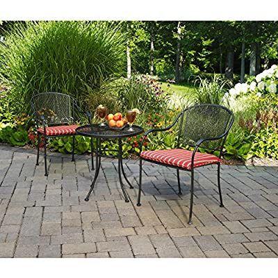Heavy Duty Steel Frame Mesh Tabletop 3-Piece Outdoor Bistro Set