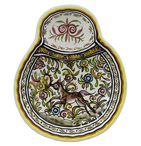 Vintage Hand Painted Decorative Olive Dish XVII Cent Recreation Louca de Coimbra #124 (5) by Madeira House