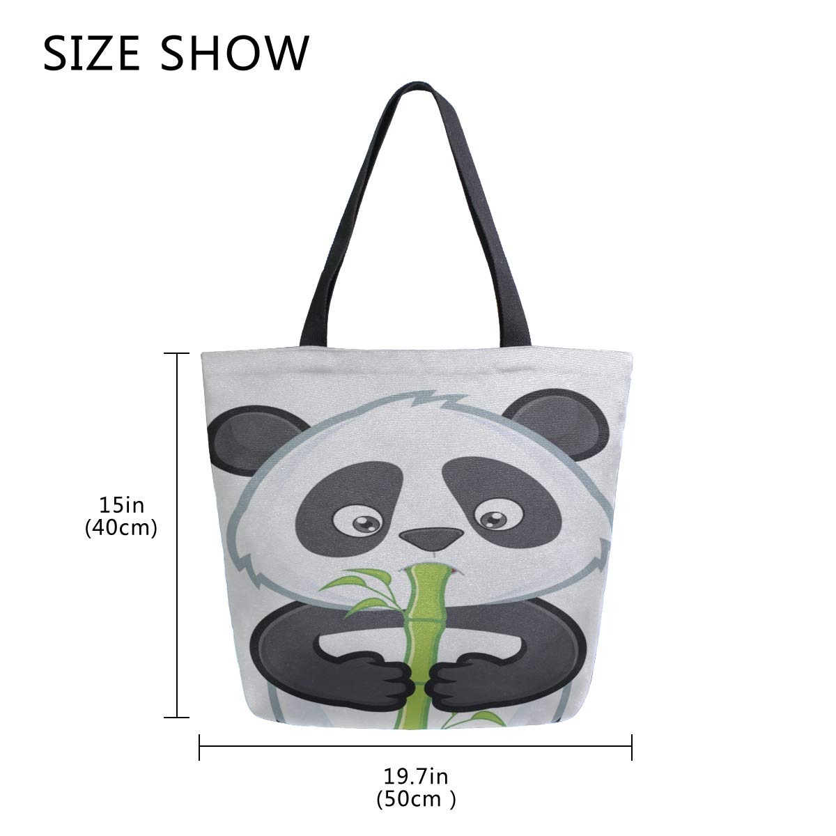Chinese Panda Eating Bamboo Portable Large Double Sided Casual Canvas Tote Bags Handbag Shoulder Reusable Shopping Bags Duffel Purse For Women Men Grocery Travel