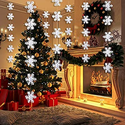 Zeman 3d White White Snowflake Ornaments Hanging Garland Flags