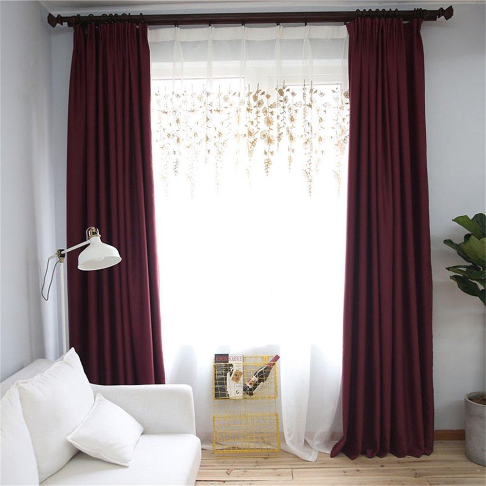 HOME UK- Ein Satz von 2 PC Verdickung Voll Schattierung Vorhang Moderne minimalistische Wohnzimmer Schlafzimmer Solid Color Fertigprodukte ( farbe : Curtain And Yarn , größe : 3*2.7m )