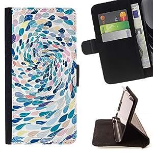 For Sony Xperia M2 Case , Natación del arte abstracto de la metáfora- la tarjeta de Crédito Slots PU Funda de cuero Monedero caso cubierta de piel