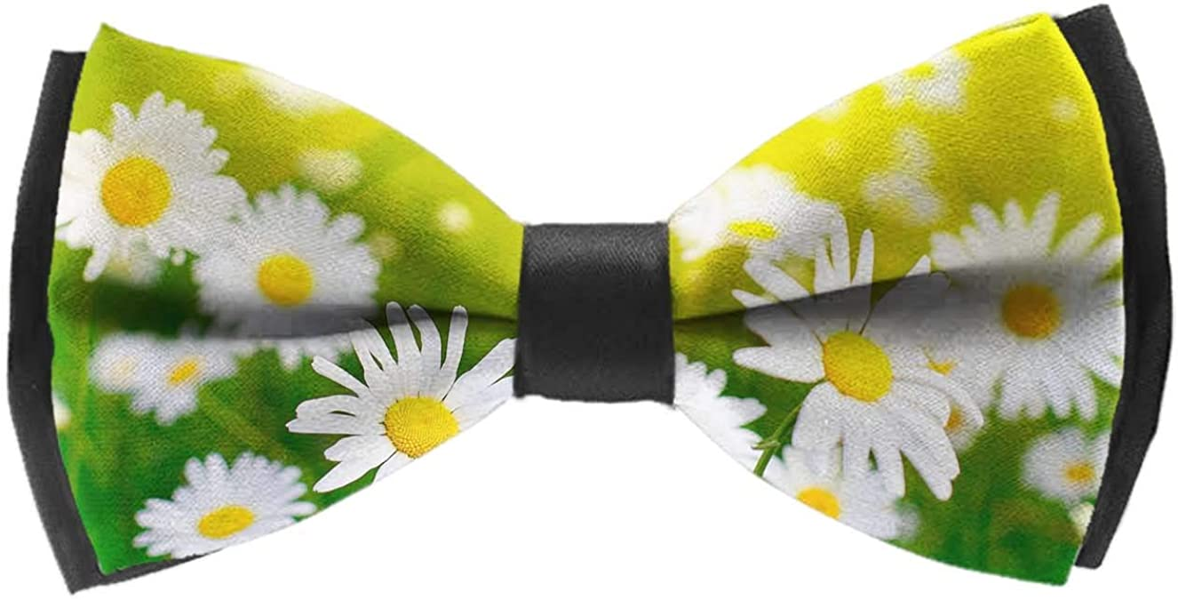 Mens Classic Pre-Tied Satin Formal Tuxedo Bowtie Adjustable Daisy Flower