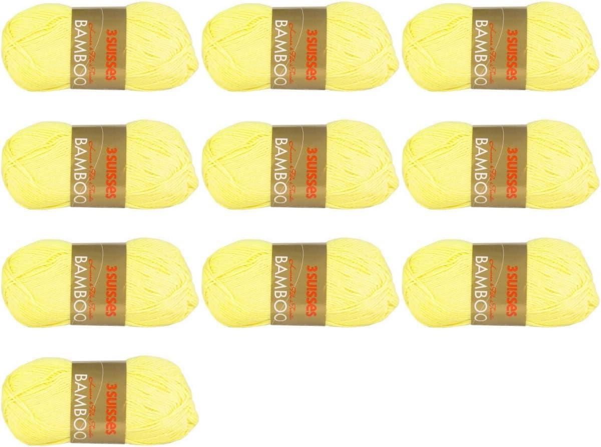 jaune Clair Lot de 10 Pelote de laine 3SUISSES BAMBOO