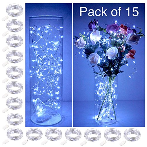 (Smilingtown Starry String Lights 15 Pack Fairy Lights, LED Firefly Silver Color Wire Lights 20 LED 7.2FT Battery Powered Lights for DIY Wedding Party Jar Centerpiece Christmas Decorations - Cool White)