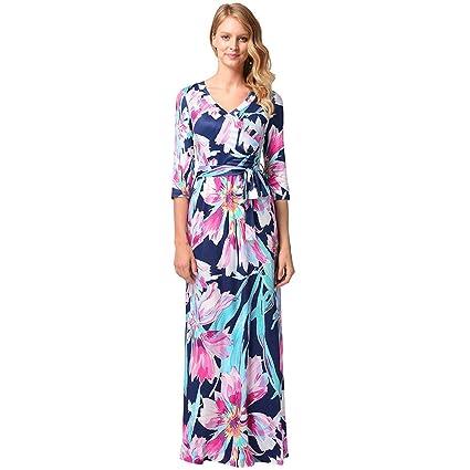 Cvbndfe Cómodo Vestido de Noche para Mujer Bolso de Cadera Diseño Floral Vestido de túnica Vestidos