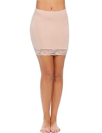 c588fa9d996067 Zeela Jupon Femme Mini-Genou sous Jupe Slip Taille Elastiquée avec Bordure  en Dentelle
