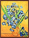 YEESAM Art New DIY Paint by Number Kits for Adults Kids Beginner - Worldwide Famous Oil Painting by Van Gogh 16x20 inch Linen Canvas - Stress Less Number Painting Gifts (Without Frame, Iris)