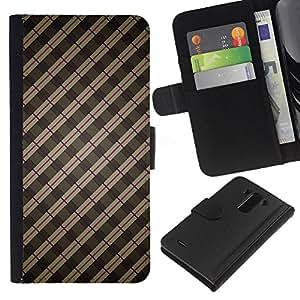 KLONGSHOP // Tirón de la caja Cartera de cuero con ranuras para tarjetas - Stripes Wallpaper Gris Marrón Rojo aleatoria - LG G3 //