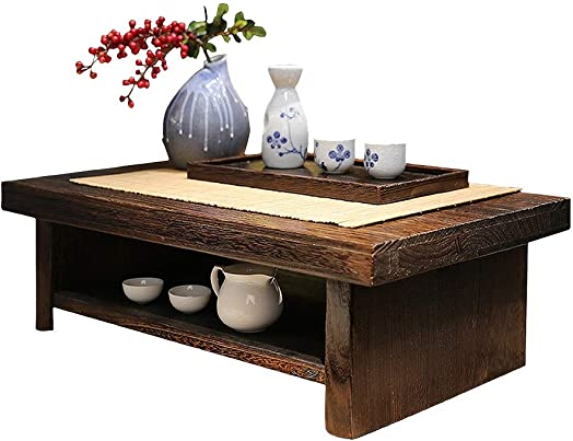 Coffee Tables Small Table Side Table Simple Chinese Tea Table Tatami Platform Low Table Creative Balcony Bay Window Table Paulownia Wooden Table Size : 683520cm
