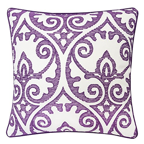Homey Cozy Embroidery Throw Pillow Cover,Purple Series Cartouche Swirls with Piping Purple Velvet Back Cotton Canvas Large Sofa Couch Pillow Sham,20x20 Cover Only