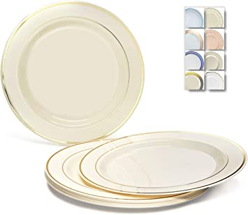 """Coloured Tableware Party//Wedding 20 Ivory Round 7/"""" Paper Plates"""
