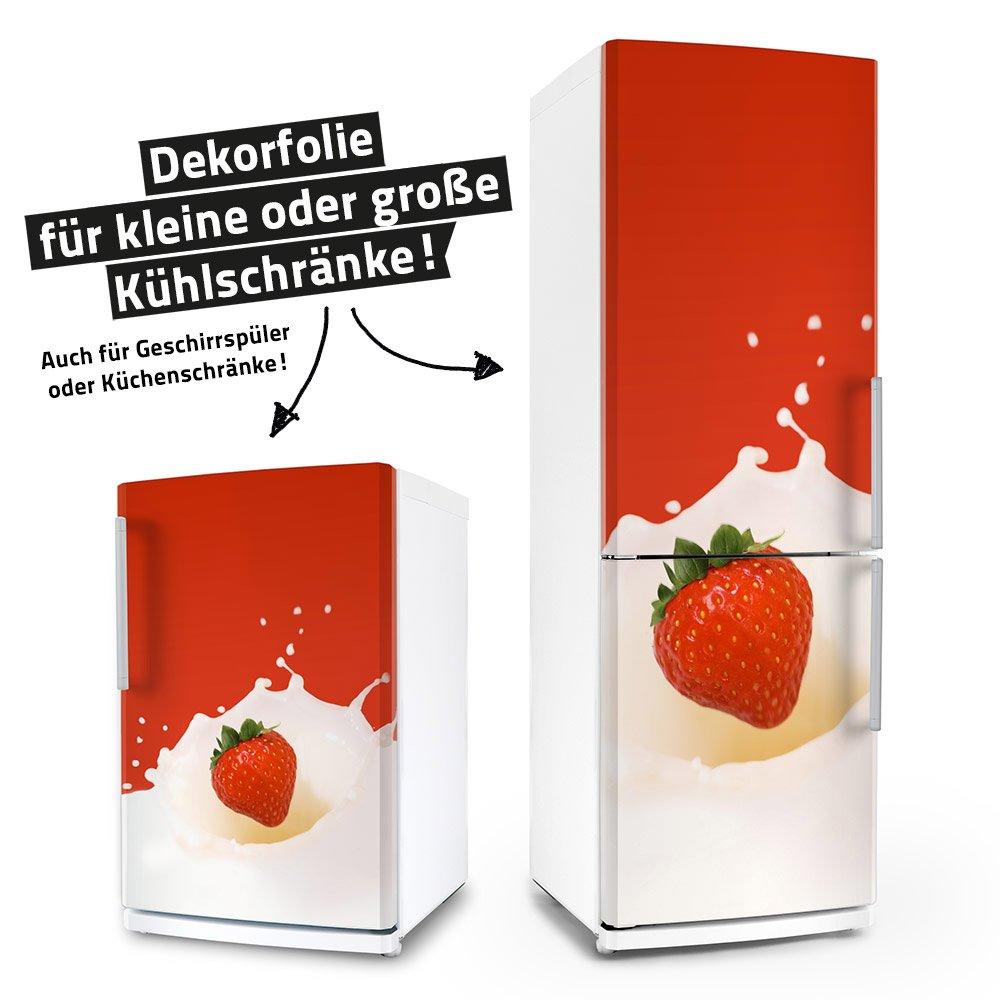 Kühlschrank- & Geschirrspüler-Folie --- Erdbeere in Milch --- Dekorfolie Aufkleber Klebefolie Front posterdeluxe